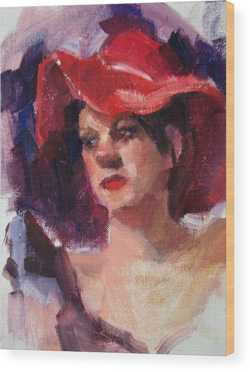 Portrait Wood Print featuring the painting Woman In A Floppy Red Hat by Merle Keller
