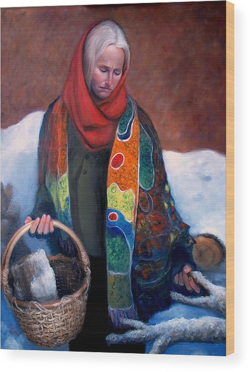 Realism Wood Print featuring the painting Woodgatherer by Donelli DiMaria