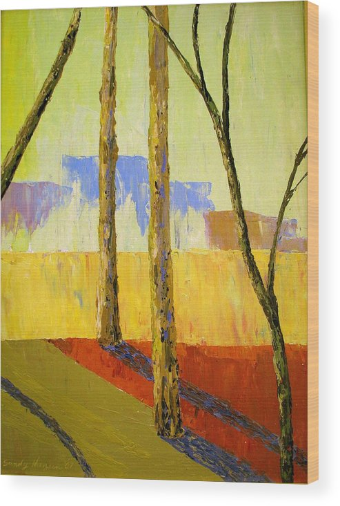 India Wood Print featuring the painting Yellow Trees by Art Nomad Sandra Hansen