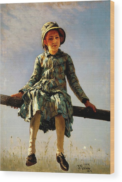 Dragonfly Wood Print featuring the painting Dragonfly, Painter's Daughter Portrait by Ilya Repin