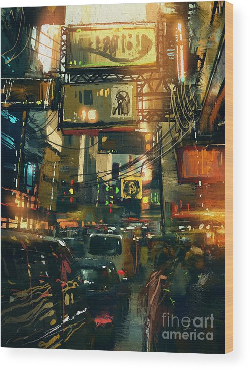 Fi Wood Print featuring the digital art Colorful Painting Of Shopping Street In by Tithi Luadthong