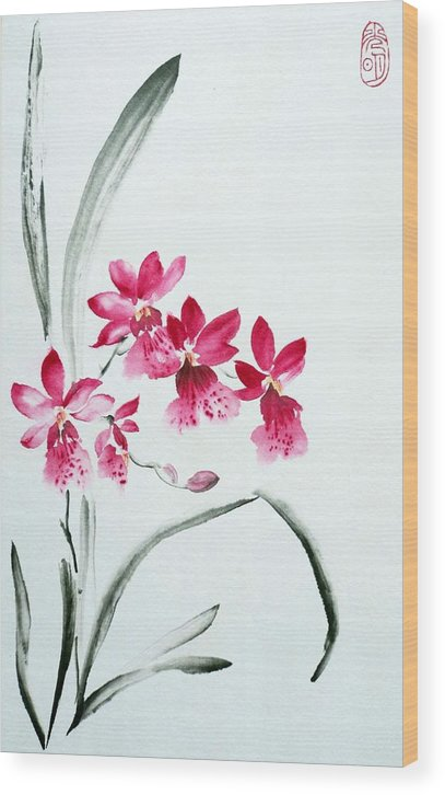 Orchid Wood Print featuring the painting Pink Orchid by Svetlana Ilyina
