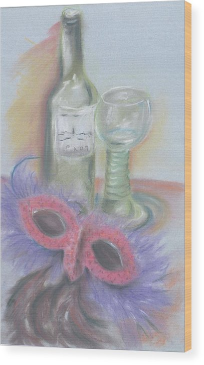 Still Life With Mask Wood Print featuring the drawing Carnival by Kathy Mitchell