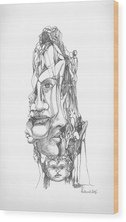 Surreal Wood Print featuring the drawing In Your Head by Padamvir Singh