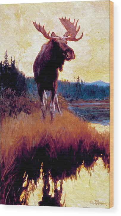 Moose Wood Print featuring the painting Moose Against Skyline by Phillip R Goodwin