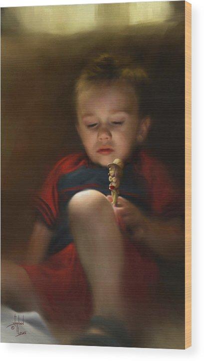 Boy. Figure Wood Print featuring the digital art Sleep Off To Wonderland by Stephen Lucas