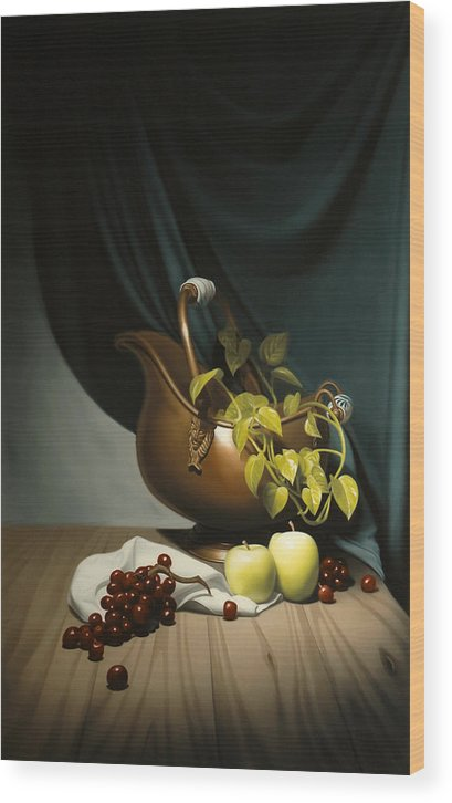 Still Life Painting Wood Print featuring the painting Still Life Painting Zanndam Evening by Eric Bossik