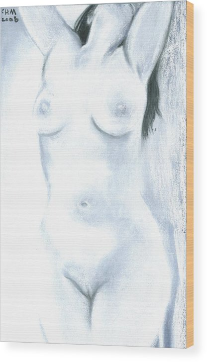 Chalk Charcoal Drawing Erotica Female Nude Sex Sexy Sexual Sensual Wood Print featuring the drawing White Heat by Cartoon Hempman