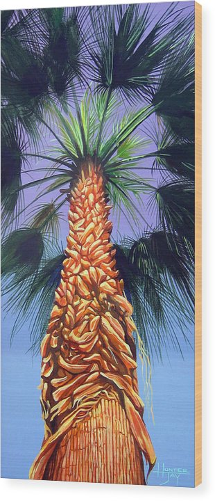 Palm Tree In Palm Springs California Wood Print featuring the painting Holding Onto The Earth by Hunter Jay