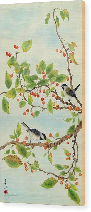 Bird Wood Print featuring the painting Birds In Autumn Season II by Ying Wong