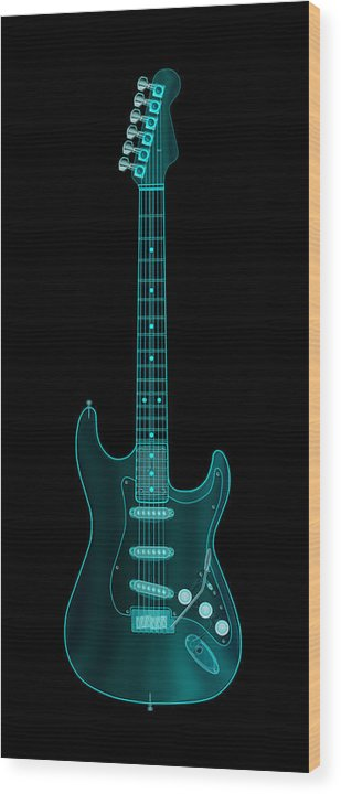electric Guitar Wood Print featuring the digital art X-ray Electric Guitar by Michael Tompsett
