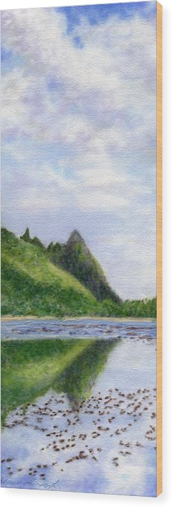 Rainbow Colors Pastel Wood Print featuring the painting Makana Reflection by Kenneth Grzesik