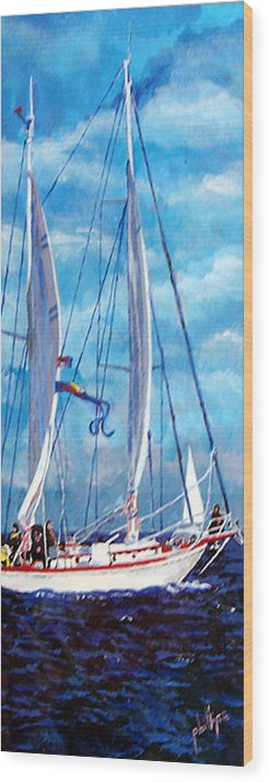 Sailboat Wood Print featuring the painting Profile Of A Sailboat by Jim Phillips