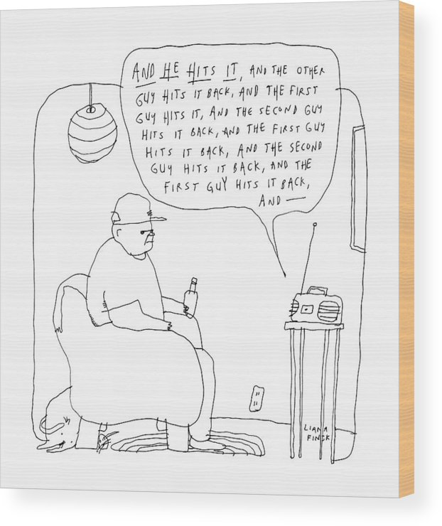 Captionless Wood Print featuring the drawing A Man Listens To The Radio by Liana Finck