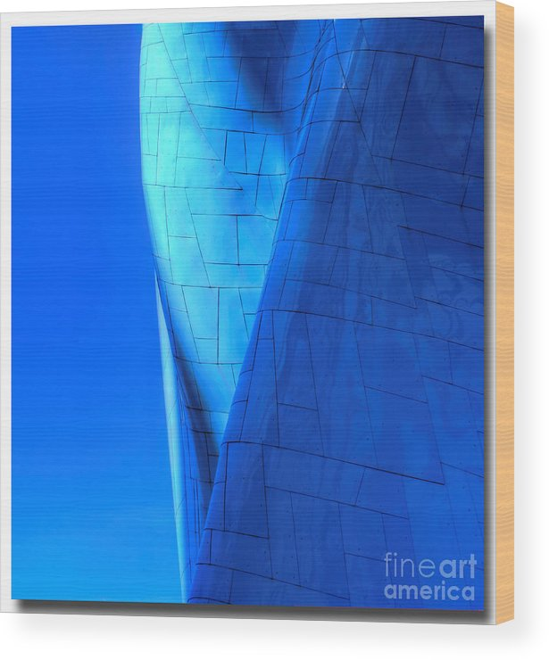 Abstract Wood Print featuring the photograph Blue On Blue Cropped Version by Chris Anderson