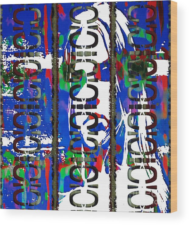 Abstract Wood Print featuring the painting Ego With Response by J Burns