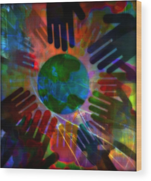 Peace Wood Print featuring the mixed media Heal The World by Wendie Busig-Kohn