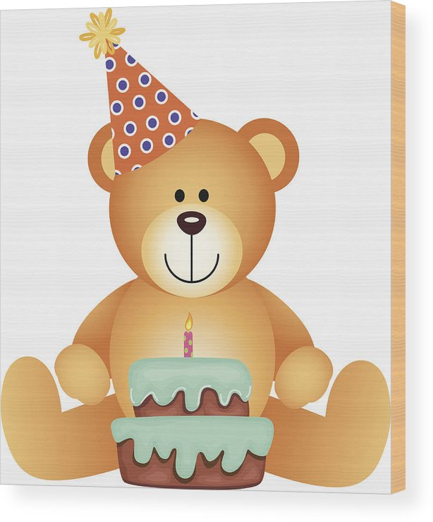 Celebration Wood Print Featuring The Drawing Teddy Bear With Birthday Cake By Socris79