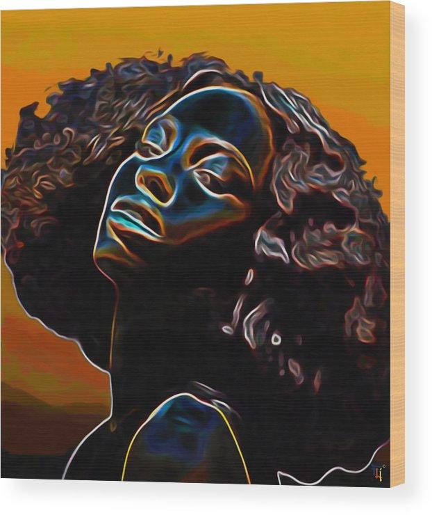 Womans Essence Ii; Essence; Woman; Girl; Female; Face; Hair; Head; Portrait Painting; Figurative Art; Modern Art; Colorful Painting; Contemporary Art; Impressionism Art; Oil On Cnavas; Original Painting; Tradigital Art; Digital Art; Fine Art; Fine Art Print; Fine Art America; Black; Blue; Fli; Orange; Yellow; Brown; Eyes; Nose; Mouth; Lips; Shoulders; Afro; Hairstyle Wood Print featuring the painting Womans Essence II       by Fli Art