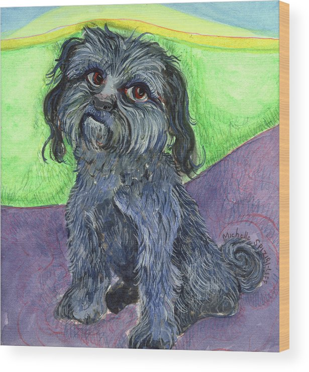 Dog Portraits Wood Print featuring the painting Blue Dog by Michelle Spiziri