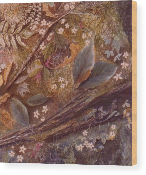 Leaves; Forest; Flowers Wood Print featuring the painting Forest Floor by Ben Kiger