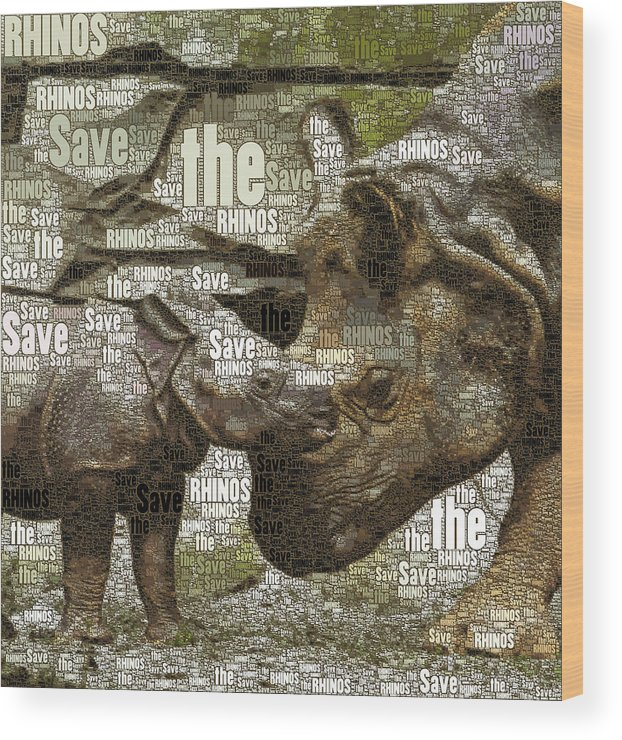 Save The Rhinos Wood Print featuring the mixed media Save The Rhinos by Susan Maxwell Schmidt