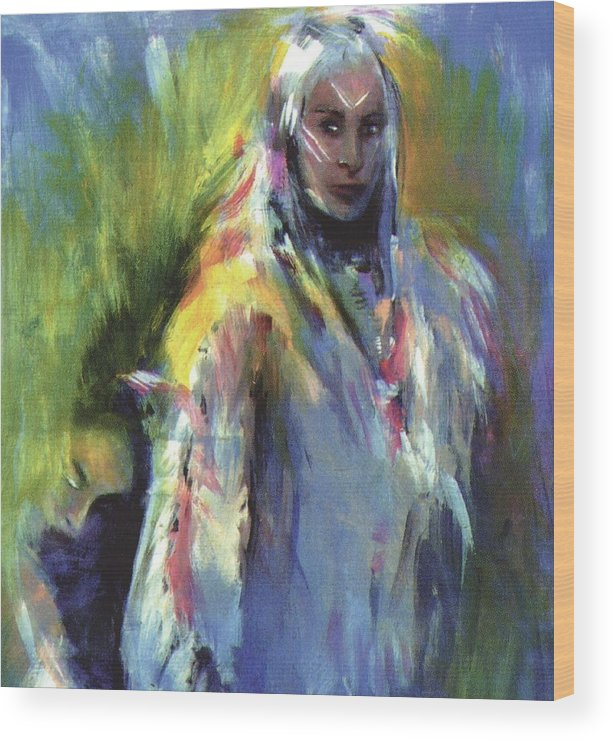 Native American Wood Print featuring the painting Spirit Guide by Elizabeth Silk