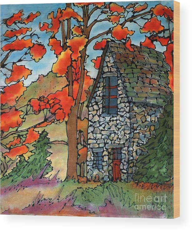Fall Wood Print featuring the painting Stone Cottage Silk Painting by Linda Marcille