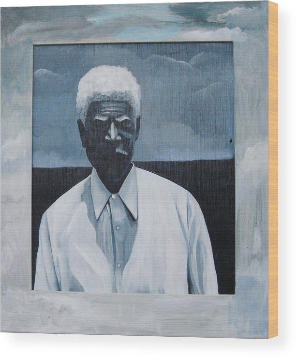 Man Wood Print featuring the painting Survivor James by Joyce Owens