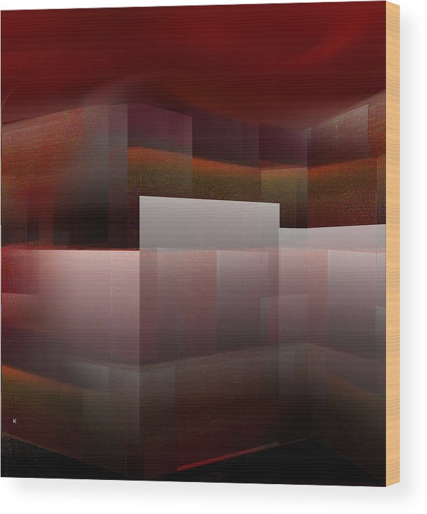 Abstract Wood Print featuring the digital art Under A Red Sky by John Krakora