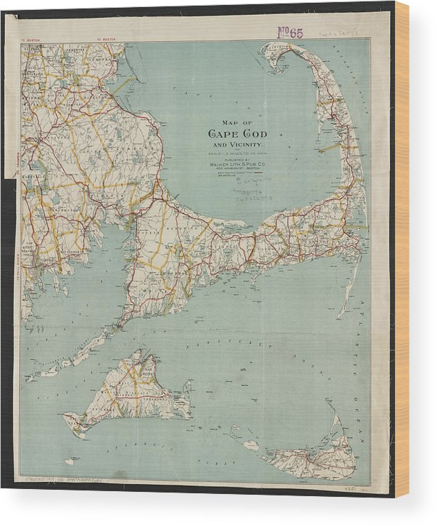 photo regarding Printable Map of Cape Cod called Common Map Of Cape Cod - 1917 Wooden Print
