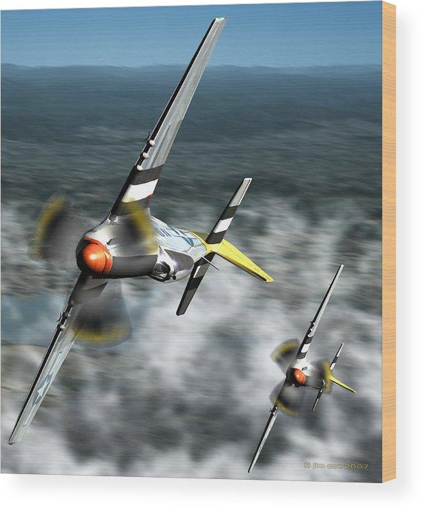 Jim Coe Wood Print featuring the digital art Wingman by Jim Coe
