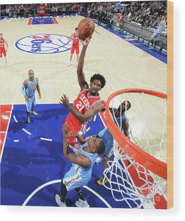 Nba Pro Basketball Wood Print featuring the photograph Philadelphia 76ers V Denver Nuggets 3 by Jesse D. Garrabrant