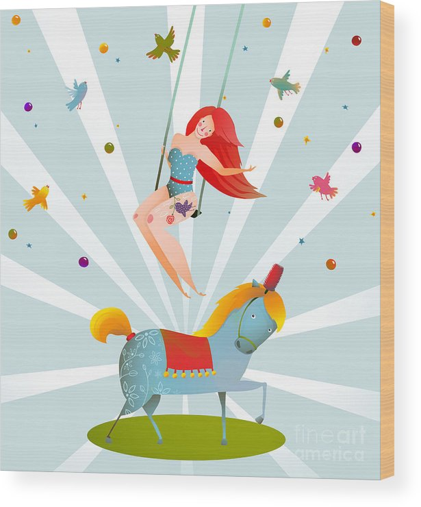 Gymnast Wood Print featuring the digital art Circus Carnival Show Vintage Poster by Popmarleo