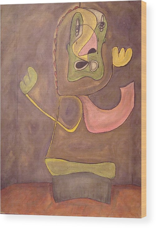 Abstract Face Wood Print featuring the painting Sitting Stone by W Todd Durrance