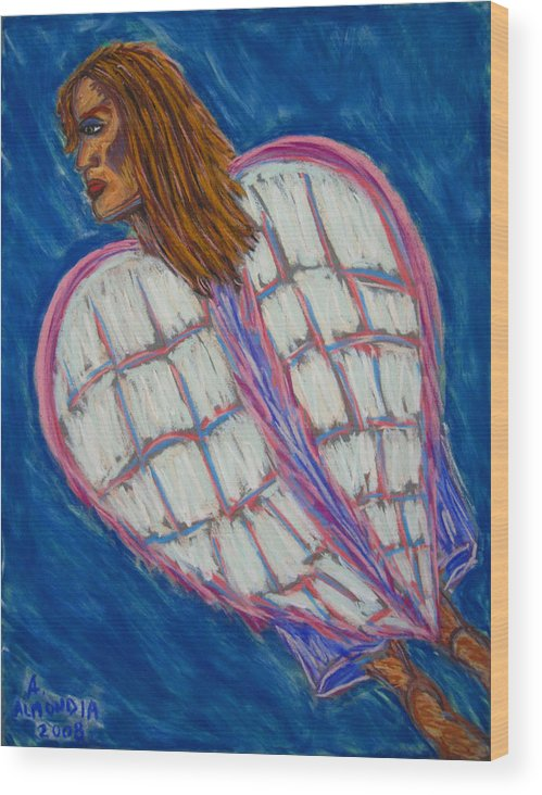 Spiritual Wood Print featuring the painting Angel II by Albert Almondia