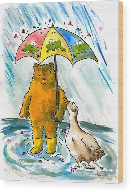 Bear Wood Print featuring the painting Beebs And Goosey In The Rain by Heart-Led Woman