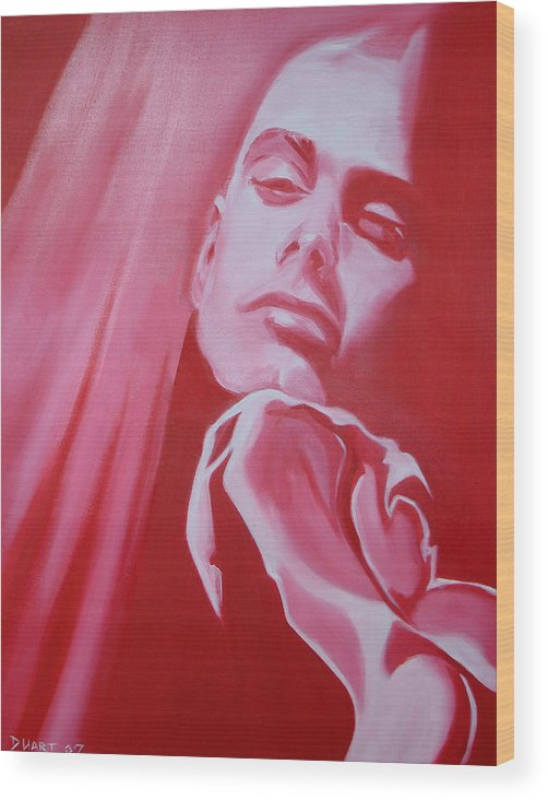 Erotic Male Portrait Abstract Red Wood Print featuring the painting Fantasy by Davinia Hart