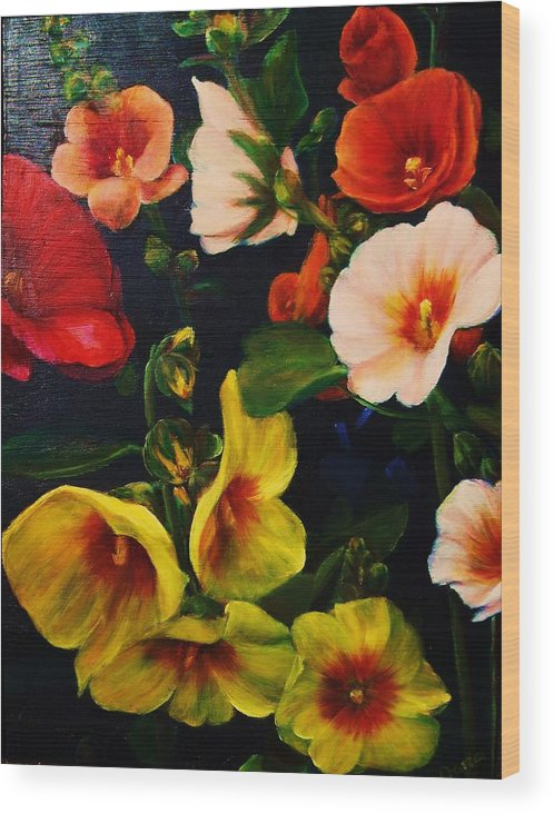 Flowers Wood Print featuring the painting Hollyhocks by Dana Redfern