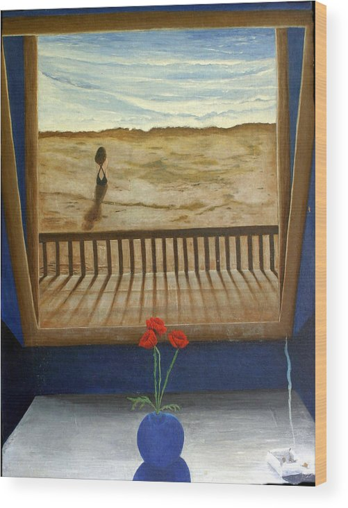 Figurative Wood Print featuring the painting Lonely Beach by Georgette Backs