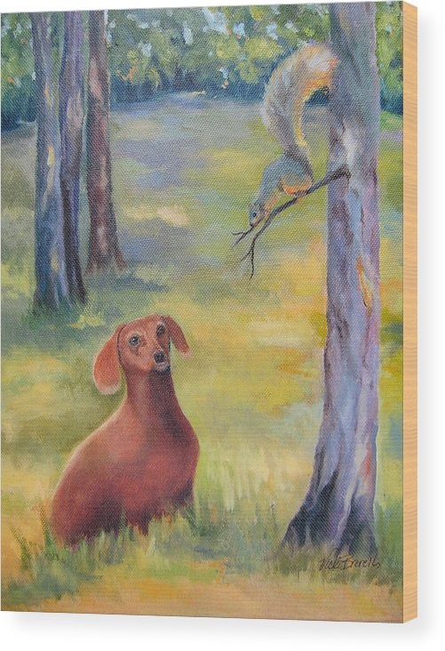 Animal Wood Print featuring the painting Molly And The Squirrel by Vicki Brevell