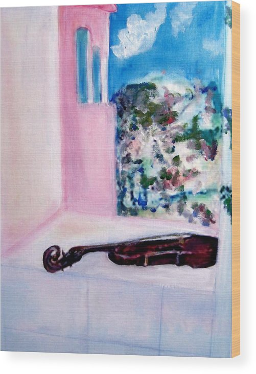 Violin Wood Print featuring the painting The Violin by Michela Akers