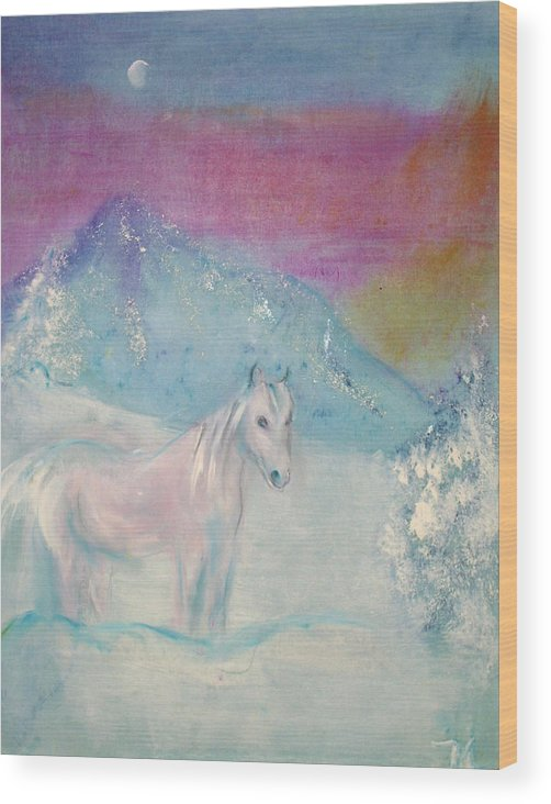 Landscape Wood Print featuring the painting Young Horse On Snowy Mountain by Michela Akers