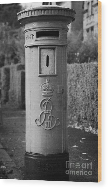 Europe Wood Print featuring the photograph red old historic post pillar box manufactured by Handyside of Derby and London with Edward the seventh crown E Rex and VII symbols by Joe Fox