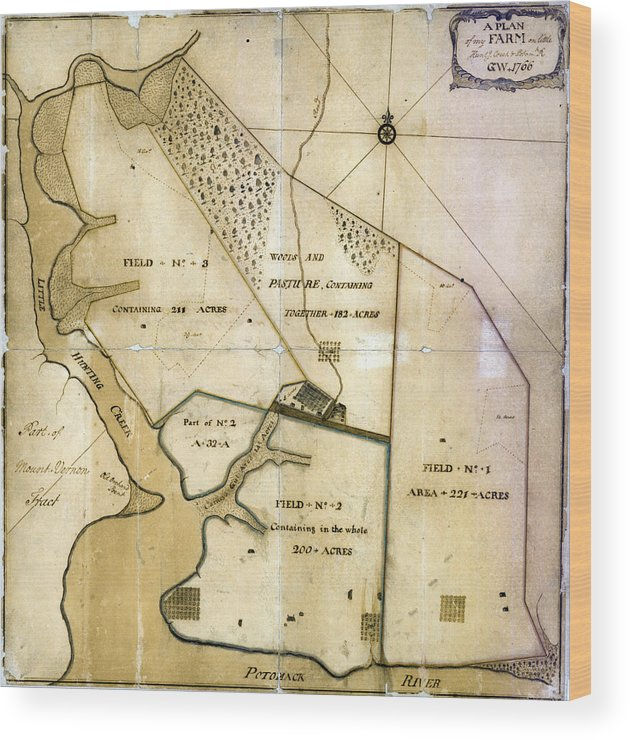 1760s Wood Print featuring the photograph A Plan Of My Farm On Little Hunting by Everett