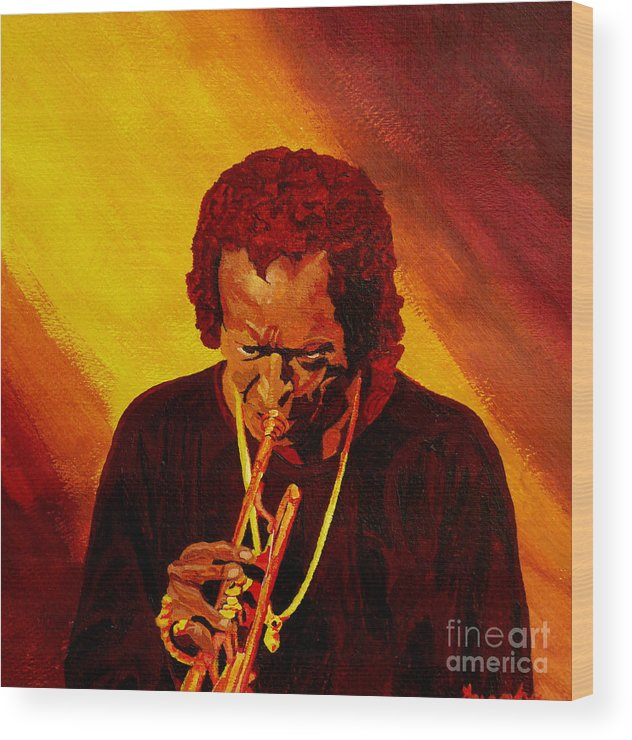 Miles Davis Wood Print featuring the painting Miles Davis Jazz Man by Anthony Dunphy