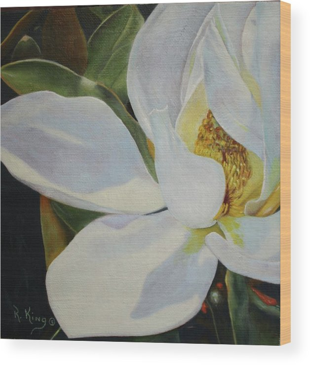 Roena King Wood Print featuring the painting Oil Painting - Sydney's Magnolia by Roena King