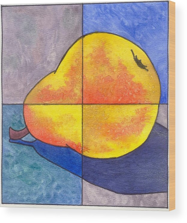 Pear Wood Print featuring the painting Pear I by Micah Guenther