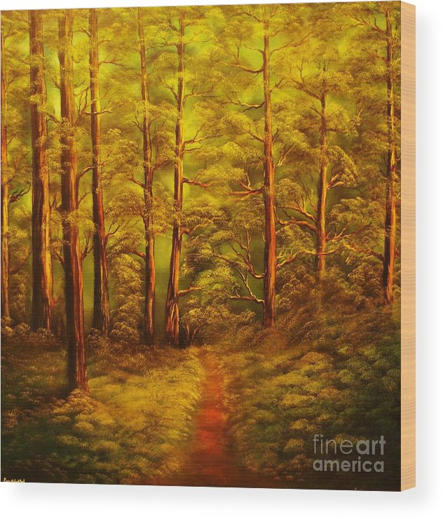Fores Wood Print featuring the painting The Pine Tree Forest-original Sold-buy Giclee Print Nr 34 Of Limited Edition Of 40 Prints by Eddie Michael Beck