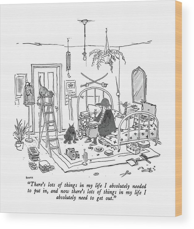 Old Lady With Baseball Cap To Her Many Pets As She Sits On The Bed In Her Apartment. Her Junk Has Been Neatly Lined Up. Interiors Wood Print featuring the drawing There's Lots Of Things In My Life I Absolutely by George Booth